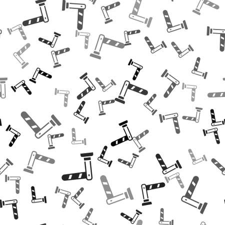 Black Railway barrier icon isolated seamless pattern on white background. Vector