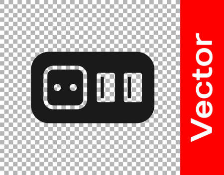 Black Electrical outlet icon isolated on transparent background. Power socket. Rosette symbol. Vector 矢量图像