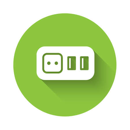 White Electrical outlet icon isolated with long shadow. Power socket. Rosette symbol. Green circle button. Vector
