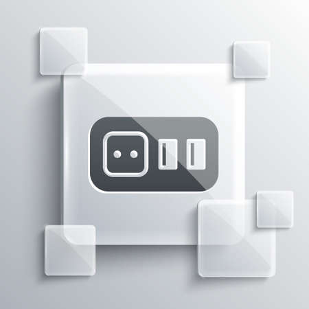 Grey Electrical outlet icon isolated on grey background. Power socket. Rosette symbol. Square glass panels. Vector