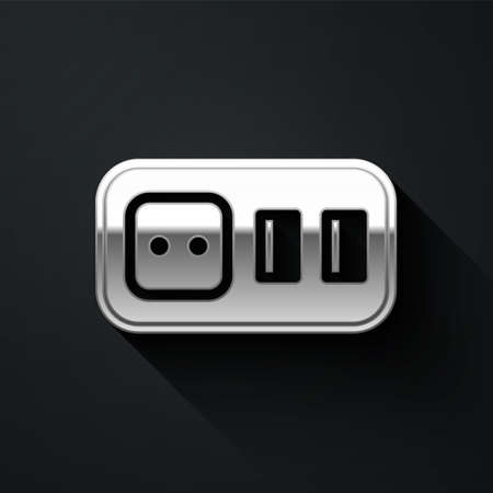 Silver Electrical outlet icon isolated on black background. Power socket. Rosette symbol. Long shadow style. Vector 矢量图像