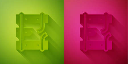 Paper cut Broken or cracked rails on a railway icon isolated on green and pink background. Paper art style. Vector