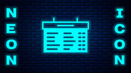 Glowing neon Train station board icon isolated on brick wall background. Mechanical scoreboard. Info of flight on the billboard in the train. Vector