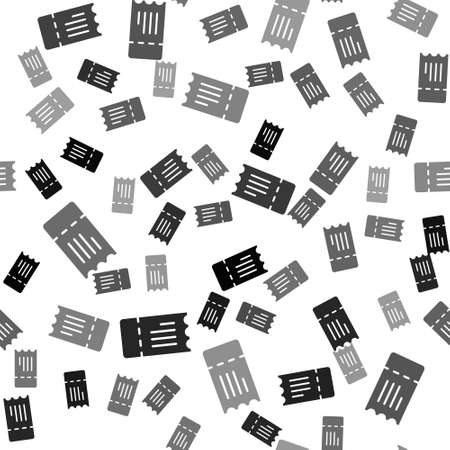 Black Train ticket icon isolated seamless pattern on white background. Travel by railway. Vector