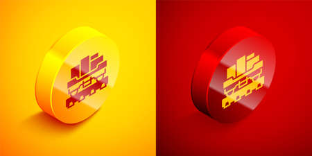 Isometric Cargo train wagon icon isolated on orange and red background. Full freight car. Railroad transportation. Circle button. Vector