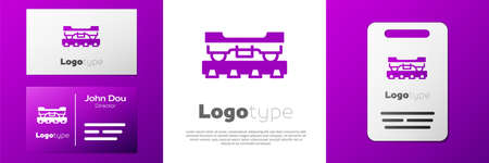 Logotype Cargo train wagon icon isolated on white background. Freight car. Railroad transportation. Logo design template element. Vector