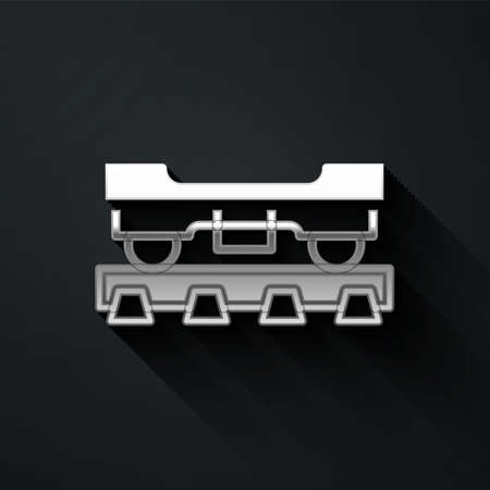 Silver Cargo train wagon icon isolated on black background. Freight car. Railroad transportation. Long shadow style. Vector