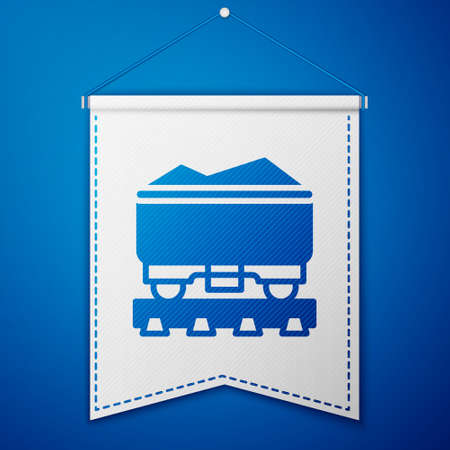 Blue Coal train wagon icon isolated on blue background. Rail transportation. White pennant template. Vector