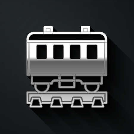 Silver Passenger train cars icon isolated on black background. Railway carriage. Long shadow style. Vector