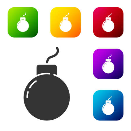 Black Bomb ready to explode icon isolated on white background. Set icons in color square buttons. Vector