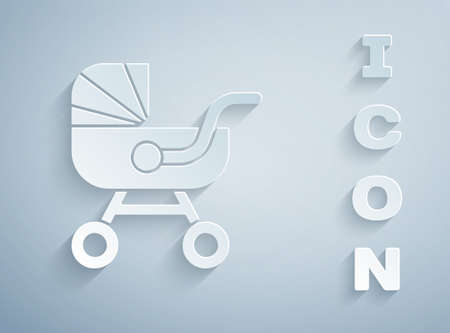 Paper cut Baby stroller icon isolated on grey background. Baby carriage, buggy, pram, stroller, wheel. Paper art style. Vector