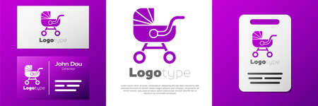 Logotype Baby stroller icon isolated on white background. Baby carriage, buggy, pram, stroller, wheel. Logo design template element. Vector 矢量图像