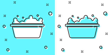 Black line Baby bathtub with foam bubbles inside icon isolated on green and white background. Random dynamic shapes. Vector