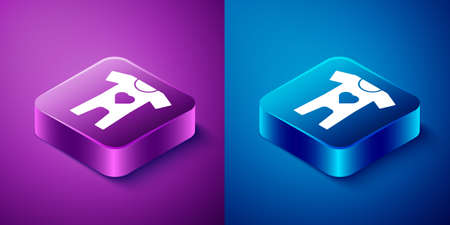 Isometric Baby clothes icon isolated on blue and purple background. Baby clothing for baby girl and boy. Baby bodysuit. Square button. Vector Ilustrace