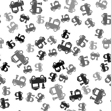 Black Toy train icon isolated seamless pattern on white background. Vector 矢量图像