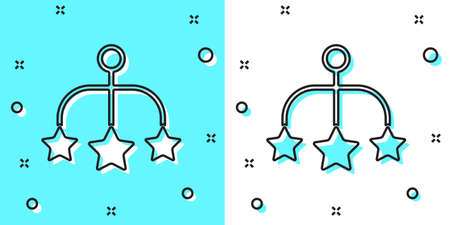 Black line Baby crib hanging toys icon isolated on green and white background. Baby bed carousel. Random dynamic shapes. Vector