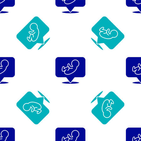 Blue Baby icon isolated seamless pattern on white background. Vector