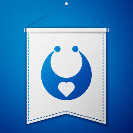 Blue Baby bib icon isolated on blue background. White pennant template. Vector
