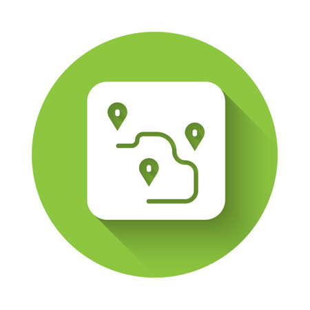White Route location icon isolated with long shadow. Map pointer sign. Concept of path or road. GPS navigator. Green circle button. Vector