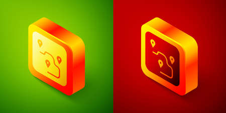 Isometric Route location icon isolated on green and red background. Map pointer sign. Concept of path or road. GPS navigator. Square button. Vector