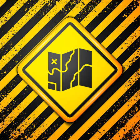 Black Folded map icon isolated on yellow background. Warning sign. Vector