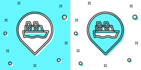 Black line Location with cruise ship icon isolated on green and white background. Travel tourism nautical transport. Voyage passenger ship, cruise liner. Random dynamic shapes. Vector