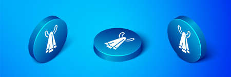 Isometric Towel on a hanger icon isolated on blue background. Bathroom towel icon. Blue circle button. Vector