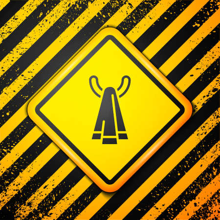 Black Towel on a hanger icon isolated on yellow background. Bathroom towel icon. Warning sign. Vector 向量圖像
