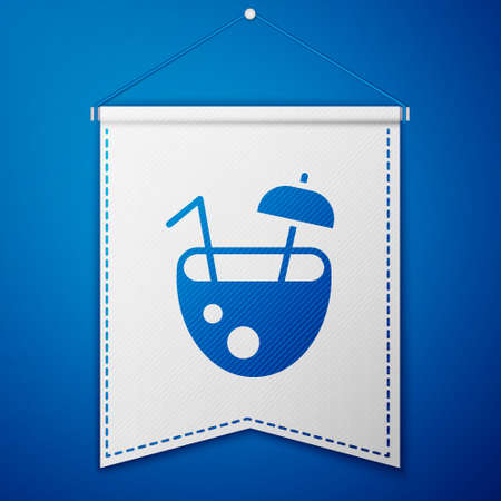 Blue Coconut juice exotic fresh cocktail and umbrella icon isolated on blue background. White pennant template. Vector 向量圖像