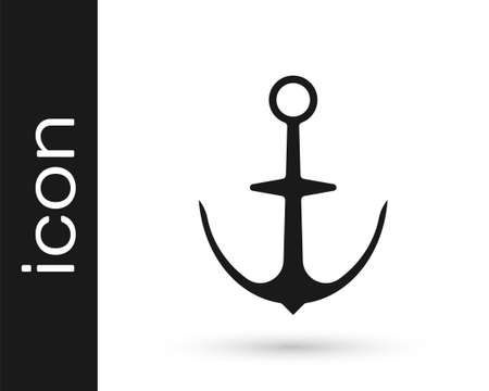 Black Anchor icon isolated on white background. Vector Vettoriali