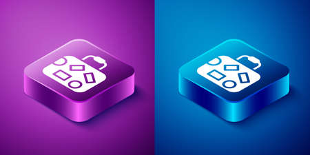 Isometric Suitcase for travel icon isolated on blue and purple background. Traveling baggage sign. Travel luggage icon. Square button. Vector 矢量图像