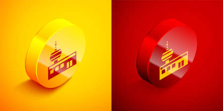 Isometric Airport control tower icon isolated on orange and red background. Circle button. Vector