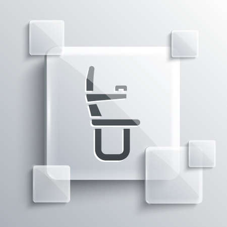 Grey Airplane seat icon isolated on grey background. Square glass panels. Vector