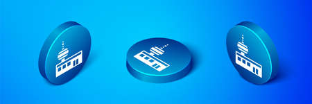 Isometric Airport control tower icon isolated on blue background. Blue circle button. Vector
