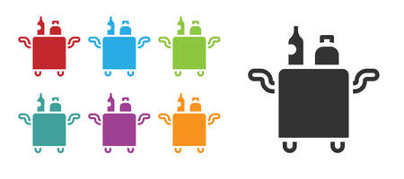 Black Trolley for food and beverages icon isolated on white background. Set icons colorful. Vector
