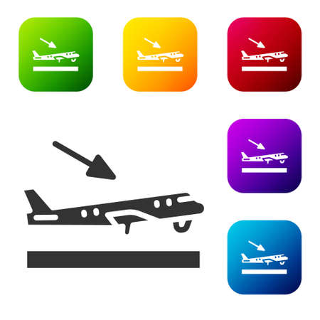 Black Plane landing icon isolated on white background. Airplane transport symbol. Set icons in color square buttons. Vector