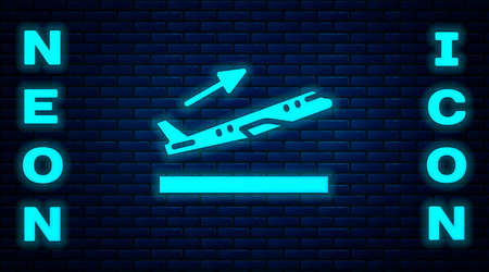 Glowing neon Plane takeoff icon isolated on brick wall background. Airplane transport symbol. Vector