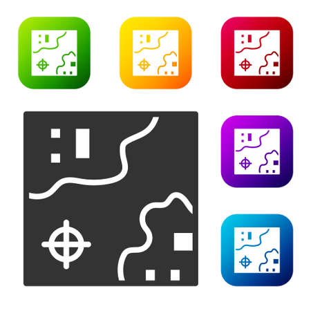 Black World travel map with airplanes icon isolated on white background. Set icons in color square buttons. Vector