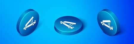 Isometric Passenger ladder for plane boarding icon isolated on blue background. Airport stair travel. Blue circle button. Vector