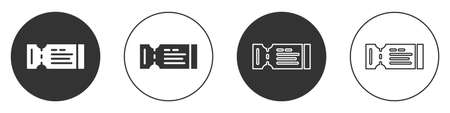 Black Airline ticket icon isolated on white background. Plane ticket. Circle button. Vector 矢量图像