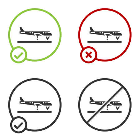 Black Plane icon isolated on white background. Flying airplane icon. Airliner sign. Circle button. Vector Ilustrace