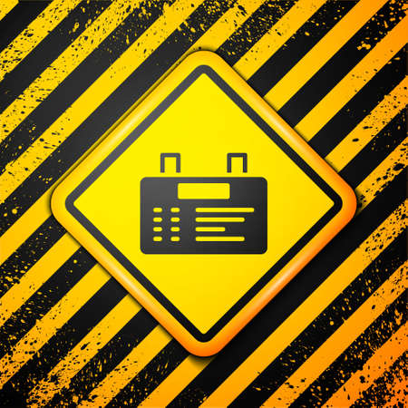 Black Airport board icon isolated on yellow background. Mechanical scoreboard. Info of flight on the billboard in the airport. Warning sign. Vector 矢量图像