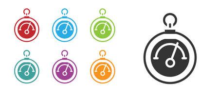 Black Barometer icon isolated on white background. Set icons colorful. Vector