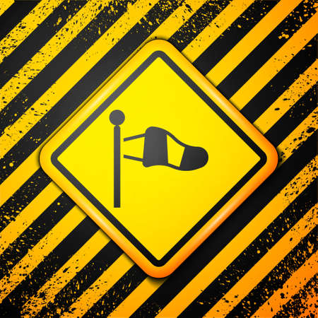 Black Cone meteorology windsock wind vane icon isolated on yellow background. Windsock indicate the direction and strength of the wind. Warning sign. Vector 矢量图像