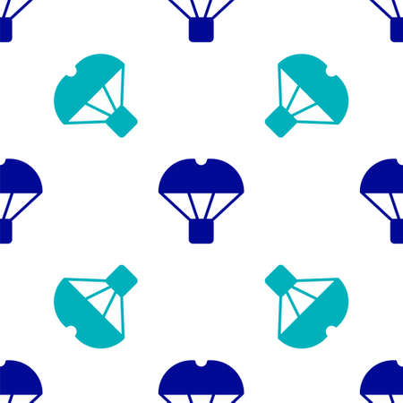Blue Box flying on parachute icon isolated seamless pattern on white background. Parcel with parachute for shipping. Delivery service, air shipping. Vector