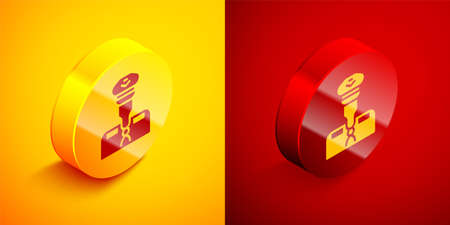 Isometric Pilot icon isolated on orange and red background. Circle button. Vector