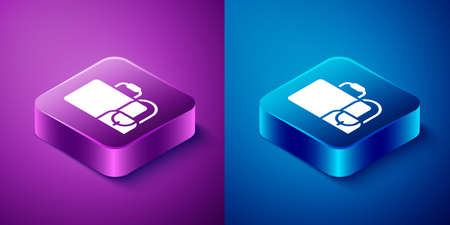 Isometric Suitcase for travel icon isolated on blue and purple background. Traveling baggage sign. Travel luggage icon. Square button. Vector 免版税图像 - 157527962