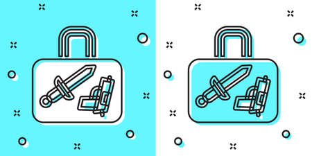 Black line Suitcase for travel icon isolated on green and white background. Traveling baggage sign. Travel luggage icon. Random dynamic shapes. Vector 免版税图像 - 157527963