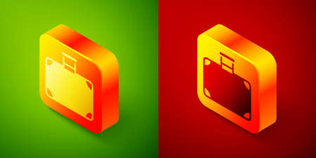 Isometric Suitcase for travel icon isolated on green and red background. Traveling baggage sign. Travel luggage icon. Square button. Vector
