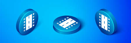 Isometric Airport runway for taking off and landing aircrafts icon isolated on blue background. Blue circle button. Vector